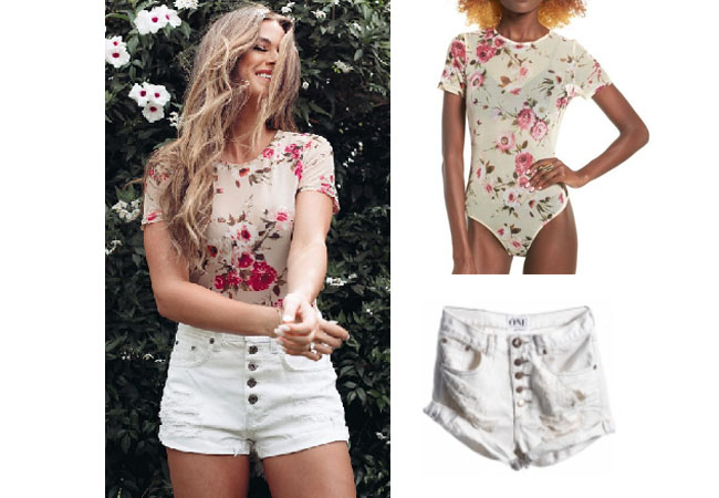 JoJo Fletcher, The Bachelorette, celebrity style, star style, JoJo Fletcher outfits, JoJo wardrobe, JoJo Fletcher fashion, Jo Jo Fletcher style, shop your tv, @joelle_fletcher, worn on tv, tv fashion, clothes from tv shows, tv outfits,leith floral bodysuit, floral bodysuit, floral t-short, floral tee shirt, one teaspoon frost outlaw shorts, white jean shorts, white button up jean shorts