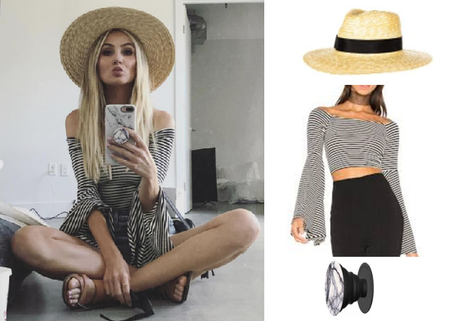 Lauren Bushnell, The Bachelor, celebrity style, star style, Lauren Bushnell outfits, Lauren Bushnell fashion, Lauren Bushnell Style, shop your tv, @laurenbushnell, worn on tv, tv fashion, clothes from tv shows, tv outfits, brixton straw hat, popsockets cellphone grip white marble, house of harlow 1950 drew striped top, striped top bell sleeves