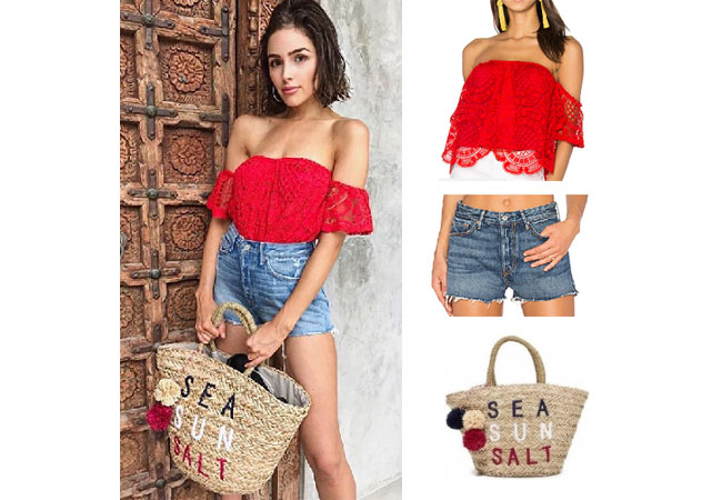 Olivia Culpo, celebrity style, star style, Olivia Culp outfits, Olivia Culpo fashion, Olivia Culpo style, shop your tv, @oliviaculpo, worn on tv, tv fashion, clothes from tv shows, tv outfits, vava red lace off the shoulder top, grlfrnd jean shorts, sundry straw bag, sun sand salt straw bag, Olivia Culpo wardrobe
