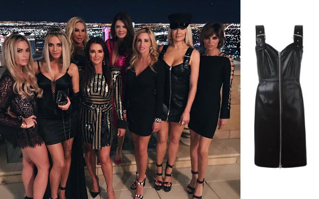 Real Housewives of Beverly Hills, RHBH, RHOBH, Erika Girardi, Erika Jayne, Erica Giradi, Erica Jane, #RHBH, #RealHousewivesBeverlyHills, shop your tv, the take, starstyle, theprettymess, steal her style, worn on tv, tv fashion, clothes from tv shows, Real Housewives of Orange County outfits, bravo, reality tv clothes, Season 7, givenchy faux leather buckle strap dress, black strap dress, black buckle dress, erika jayne's las vegas dress, erika jayne's black dress