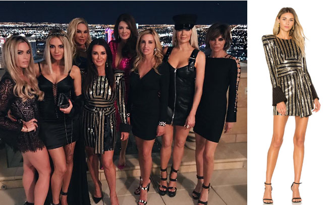 Real Housewives Of Beverly Hills Kyle Richards Gold Dress In Las Vegas