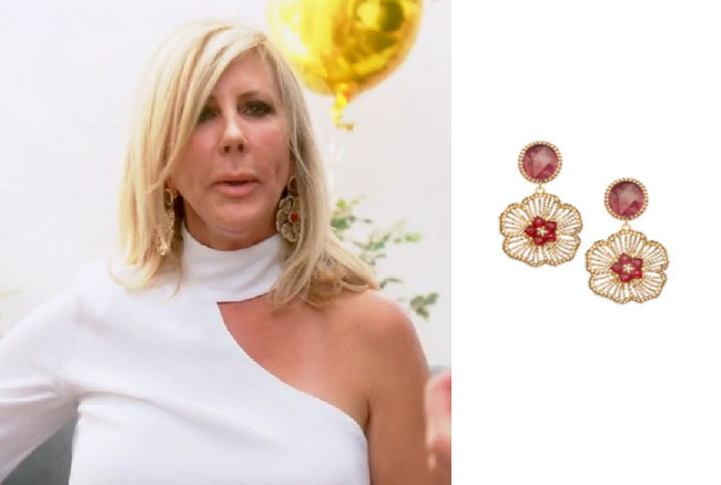Real Housewives of Orange County, RHOC, Vickie Gunvalson, Vicki Gunvalson fashion, Vicki Gunvalson wardrobe, Vicki Gunvalson style, #RHOC, #RealHousewivesOrangeCounty, Season 12, shop your tv, the take, bravotv.com, worn on tv, tv fashion, clothes from tv shows, Real Housewives of Orange County outfits, bravo, reality tv clothes, as seen on tv, Real Housewives of Orange County Season 12, Real Housewives clothes, roni blanshay flower earrings, vickie's earrings at sip and see, vickie's flower earrings
