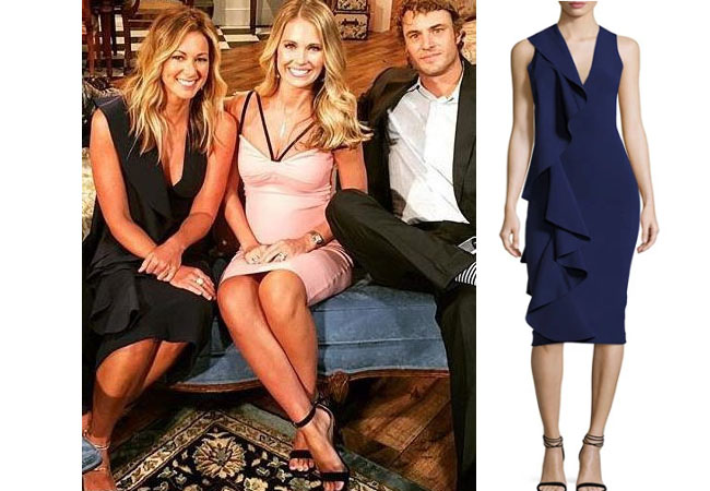 Southern Charm, Chelsea Meissner fashion, Chelsea Meissner style, Chelsea Meissner wardrobe, Chelsea Meissner, #SC, #bravo,  #southerncharm, #scharm, worn on tv, tv fashion, clothes from tv shows, Southern Charm outfits, Southern Charm fashion, Southern Charm style, star style, shop your tv, bravo, reality tv, season 4, reunion, chelsea`s blue dress, solace ceara dress, southern charm blue ruffle dress