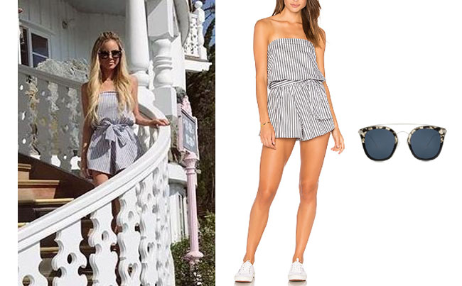 Amanda Stanton, The Bachelor, celebrity style, star style, Amanda Stanton outfits, Amanda Stanton fashion, Amanda Stanton style, shop your tv, @amanda_stantonn, worn on tv, tv fashion, clothes from tv shows, tv outfits, bachelor in paradise, bachelor in paradise 2017, bachelor in paradise scandal, faithful the brand blue stripe romper, diffeyewear zoey sunglasses