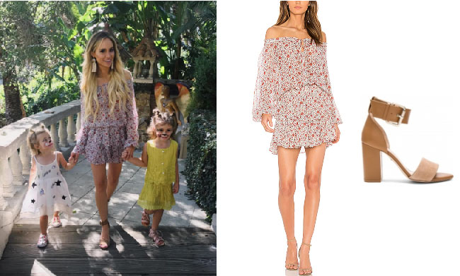 0f7b90de69e Amanda Stanton wore this LoveShackFancy red floral dress and Raye tan  sandals in August 2017.