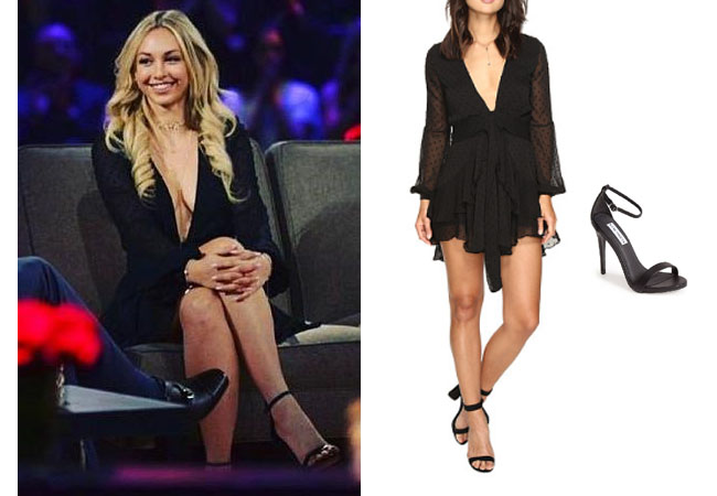 Corinne Olympios, The Bachelor, celebrity style, star style, Corinne Olympios outfits, Corinne Olympios fashion, Corinne Olympios style, shop your tv, @colympios, worn on tv, as seen on tv, tv fashion, clothes from tv shows, tv outfits, Bachelor in Paradise, #bachelorinparadise, thebachelorette, For Love of Lemons tarta dress, Corinne's black dress on Women Tell All 2017, Corinne's black sandals