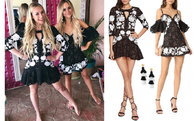 Amanda Stanton, The Bachelor, celebrity style, star style, Amanda Stanton outfits, Amanda Stanton fashion, Amanda Stanton style, shop your tv, @amanda_stantonn, worn on tv, tv fashion, clothes from tv shows, tv outfits, Bachelor in Paradise, #bachelorinparadise, For Love and Lemons Matador Dress, Corinne Olympios black and white dress, Amanda Stanton black and white dress, BaubleBar fringe earrings