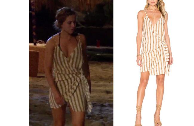 Kristina Schulman, The Bachelor, celebrity style, star style, Kristina Schulman outfits, Kristina Schulman fashion, Kristina Schulman style, shop your tv, worn on tv, as seen on tv, tv fashion, clothes from tv shows, tv outfits, Bachelor in Paradise, #bachelorinparadise, thebachelorette, Bachelor of Paradise 2017, #BIP, Faithfull the Brand Kara Wrap Dress, beige and white stripe dress