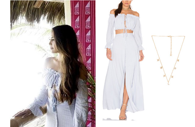 Danielle Lombard, Bachelor In Paradise 2017, #BIP, #bachelornation, #bachelorinparadise, Danielle Lombard clothes, Danielle Lombard outfits, shop your tv, as seen on tv, worn on tv, tv fashion, clothes from tv shows, ootd, celebrity style, star style, reality tv outfits, Bachelor In Paradise scandal, Majorelle sangria maxi skirt, Majorelle snagria crop top, Danielle's crop top, Danielle's skirt, Danilee's star necklace, Child of Wild Star and Moon necklace
