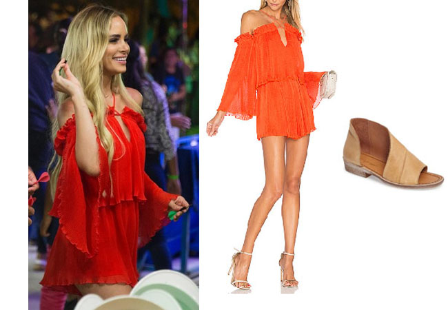 Amanda Stanton, The Bachelor, celebrity style, star style, Amanda Stanton outfits, Amanda Stanton fashion, Amanda Stanton style, shop your tv, @amanda_stantonn, worn on tv, tv fashion, clothes from tv shows, tv outfits, Bachelor In Paradise 2017, Bachelor In Paradise Scandal, Amanda's red playsuit, Alice McCall locomotion playsuit, Free People Mont Blanc sandals