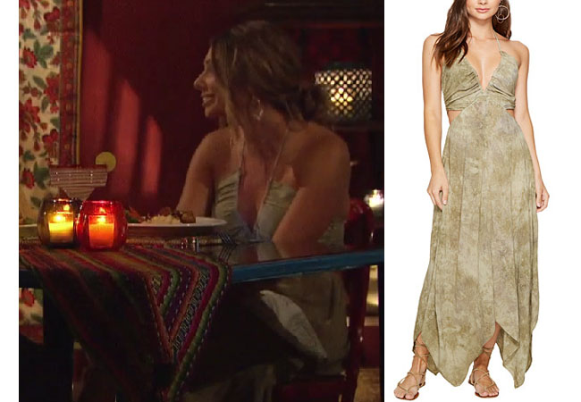 Sarah Vendal, The Bachelor,  celebrity style, star style, Sarah Vendal outfits, Sarah Vendal fashion, Sarah Vendal style, shop your tv, @sarahvendal, worn on tv, tv fashion, clothes from tv shows, tv outfits, Bachelor In Paradise 2017, Bachelor In Paradise scandal, #BIP, Blue Life Summer Breeze Halter Dress, Sarah's green dress on date, Sarah's green dress