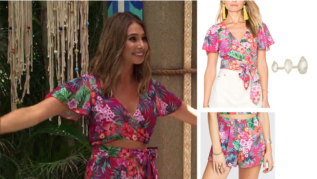 Sarah Vendal, The Bachelor, celebrity style, star style, Sarah Vendal outfits, Sarah Vendal fashion, Sarah Vendal style, shop your tv, @sarahvendal, worn on tv, tv fashion, clothes from tv shows, tv outfits, Bachelor In Paradise 2017, Bachelor In Paradise scandal, #BIP, Show me your mumu wilson top and skirt, Sara's tropical top and shorts, kendra scott naomie ring