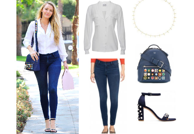 Blake Lively, celebrity style, celebrity fashion, celebrity outfits, celebrity wardrobe, Blake Lively style, Blake Lively fashion, Blake Lively outfits, Blake Lively 2017, 2017, Blake Lively movies, Blakke Lively and Ryan Reynolds, Old Navy 24/7 skinny jeans, Old Navy Rockstar 24/7 Jeans, Frame shawl collar top, Fendi stud mini backpack, Jennifer Meyer mini bar necklace