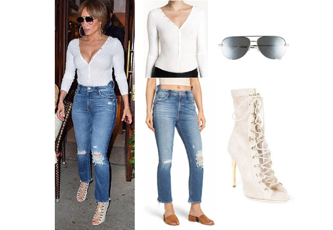 Jennifer Lopez outfits, Jennifer Lopez style, Jennifer Lopez fashion, Jennifer Lopez outfits, Jennifer Lopez clothes, @jlo, Dancing With The Stars outfit, celebrity style, celebrity fashion, Jennifer Lopez age, Jennifer Lopez songs, Jennifer Lopez net worth, ALC white top, Mother distressed jeans, Quay sunglasses, Balmain boots
