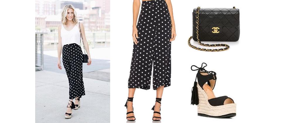 07726a044888 Kristin Cavallari`s Black and White Polka Dot Pants, Black Sandals, and  Black Purse on Instagram August 2017