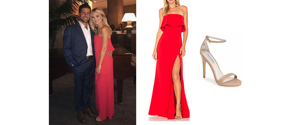 027e06601a06 Lauren Bushnell`s Red Strapless Dress and Nude Sandals at Montage August  2017