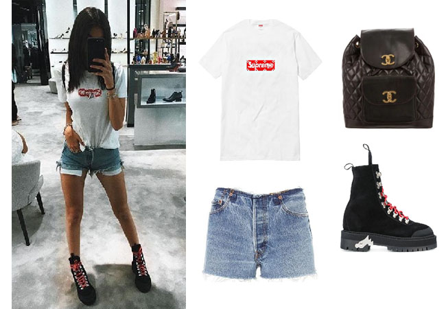 Madison Beer, celebrity style, celebrity fashion, celebrity outfits, celebrity wardrobe, Madison Beer style, Madison Beer fashion, Madison Beer outfits, Madison Beer 2017, 2017, Madison beer and justin bieber, Madison Beer Jack Gilinsky, Madison Beer youtube, Madison Beer songs, Madison Beer Instagram, Louis Vuitton Supreme t-shirt, Re/Done no waist band shorts, off-white.boots, chanel backpack