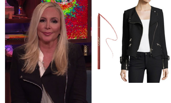 Real Housewives of Orange County, RHOC, Shannon Beador, Shannon Beador style, Shannon Beador fashion, #shannonbeador, #RHOC, Shannon Beador outfit, Watch What Happens Live 2017, #WWHL, #RealHousewivesOrangeCounty, worn on tv, tv fashion, clothes from tv shows, Real Housewives of Orange County outfits, bravo, Season 12, Real Housewives of Orange County 2017, Real Housewives of Orange County clothes, reality tv clothes, Veronica Beard black jacket, Tarte lip liner latergram