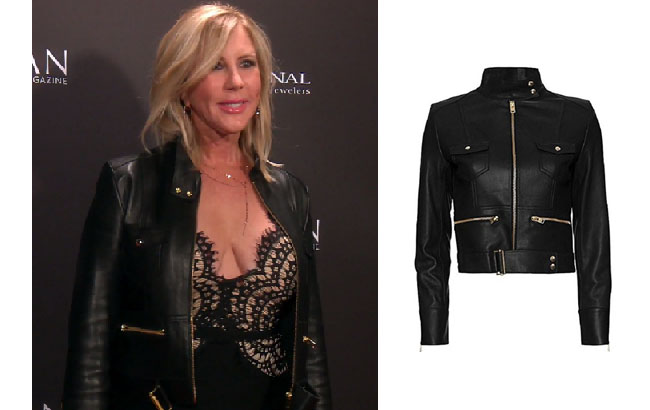 Real Housewives of Orange County, RHOC, Vickie Gunvalson, Vicki Gunvalson fashion, Vicki Gunvalson wardrobe, Vicki Gunvalson style, #RHOC, #RealHousewivesOrangeCounty, Season 12, shop your tv, the take, bravotv.com, worn on tv, tv fashion, clothes from tv shows, Real Housewives of Orange County outfits, bravo, reality tv clothes, as seen on tv, Real Housewives of Orange County Season 12, Real Housewives clothes, IRO Broome Black Leather Jacket, Vickie's Leather Jacket