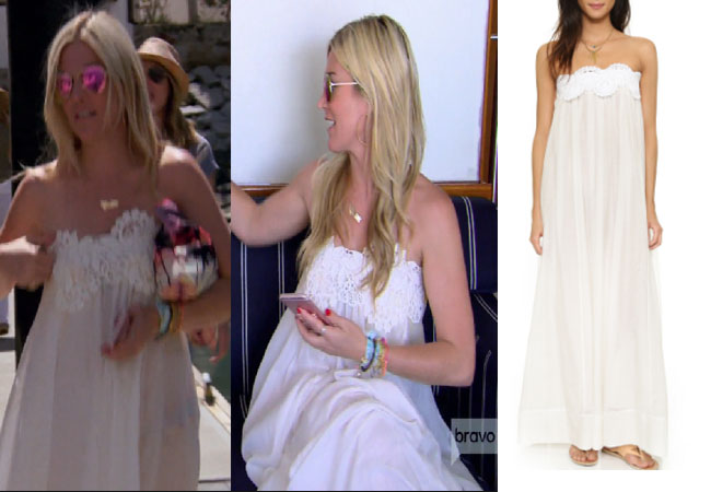 Housewives of New York, RHONY, Tinsey Mortimer outfit, bravotv.com, #RHONY, #RHNY, #bravo, Real Housewives of New York style, Real Housewives of New York fashion, Tinsley Mortimer style, Tinsley Mortimer fashion, socialite fashion, socialite style, shop your tv, the take, Tinsley Mortimer style, #RealHousewivesNewYork, worn on tv, tv fashion, clothes from tv shows, Real Housewives of New York outfits, bravo, shop your tv, reality tv clothes, real housewives clothes, real housewives of new york season 9, tinsley white maxi dress on boat, tinely's white dress in mexico, Lila Eugenie Grecian maxi dress