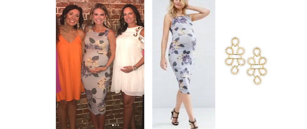 8f81e9e5b Cameran Eubanks of Southern Charm wore this Asos gray dress (sold out) and Lisi  Lerch earrings on Instagram August 2017.