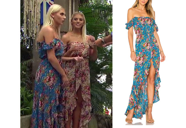 Haley Ferguson, The Bachelor,  celebrity style, star style, Haley Ferguson outfits, Haley Ferguson fashion, Haley Furgoson style, shop your tv, @hfergie11, worn on tv, tv fashion, clothes from tv shows, tv outfits,  Bachelor In Paradise 2017, Bachelor In Paradise Style, #BIP, Auguste Willow Day Dress, Haley's blue floral dress