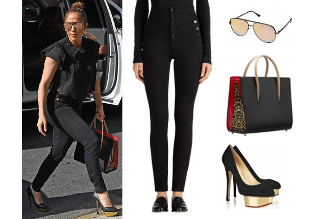Jennifer Lopez outfits, Jennifer Lopez style, Jennifer Lopez fashion, Jennifer Lopez outfits, Jennifer Lopez clothes, @jlo, Dancing With The Stars outfit, celebrity style, celebrity fashion, Jennifer Lopez instagram, Jennifer net worth, Jennifer Lopez Alex Rodriguez, Jlo and Arod, Jennifer Lopez age, black high rise jeans, J Brand high waist skinny jeans, christian louboutin paloma bag, christian louboutin leopard bag, quay sunglasses, charlotte olympia heels, jlo's black jeans