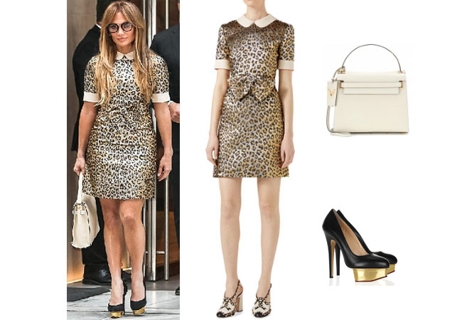 Jennifer Lopez outfits, Jennifer Lopez style, Jennifer Lopez fashion, Jennifer Lopez outfits, Jennifer Lopez clothes, @jlo, Dancing With The Stars outfit, celebrity style, celebrity fashion, Jennifer Lopez instagram, Jennifer net worth, Jennifer Lopez Alex Rodriguez, Jlo and Arod, Jennifer Lopez age, Gucci leopard jacquard dress, charlotte olympia dolly pumps, Valentino my rockstud bag