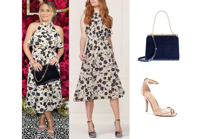 Celebrity Fashion 2017, Lauren Conrad, LC by Lauren Conrad Collection, celebrity clothes, shop your tv, Lauren Conrad net worth, Lauren Conrad blue floral dress, blue velvet bag, gold sandals, realty tv clothes