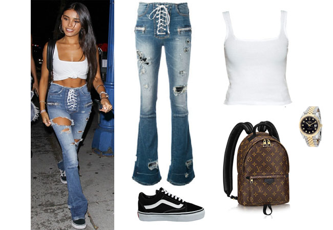 Madison Beer, celebrity style, celebrity fashion, celebrity outfits, celebrity wardrobe, Madison Beer style, Madison Beer fashion, Madison Beer outfits, Madison Beer 2017, 2017, Madison beer and justin bieber, Madison Beer Jack Gilinsky, Madison Beer youtube, Madison Beer songs, Madison Beer Instagram, unravel project destroyed jeans, brandy melville tank, vans old skool sneakers, rolex watch, madison beer's jeans, madison beer's clothes