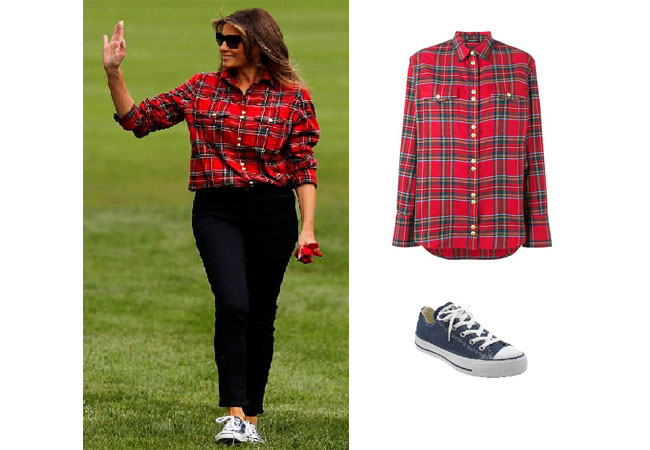 Melania Trump, celebrity style, celebrity fashion, celebrity outfits, celebrity wardrobe, Ivanka Trump style, Melania Trump fashion, Melania Trump outfits, 2017, Melania Trump, Balmain red plaid shirt, Converse Chuck Taylor Sneakers, Melania's clothes
