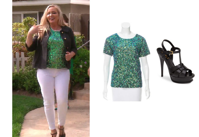 Real Housewives of Orange County, RHOC, Shannon Beador, Shannon Beador style, Shannon Beador fashion, #shannonbeador, #RHOC, Shannon Beador outfit, #RHOC, #Bravo,  #RealHousewivesOrangeCounty, worn on tv, tv fashion, clothes from tv shows, Real Housewives of Orange County outfits, bravo, Season 12, reality tv clothes, Real Housewives of Orange County Season 12, Real Housewives of Orange County clothes, Gryphon green sequined top, Saint Laurent Tribute sandals, Shannon's black sandals, Shannon's green top