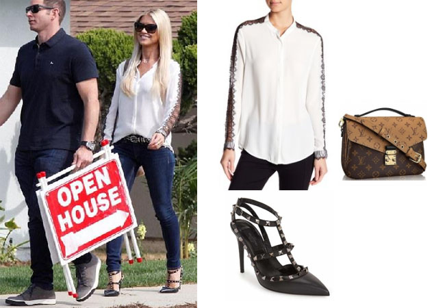 Christina El Moussa, Flip or Flop, Celebrity Outfits, Celebrity Style, Reality TV, Reality TV outfits, shop your tv, steal her style, the take, worn on tv, tv fashion, reality wardrobe, Nordstrom top, The Kooples lace blouse, Valentio rockstud pumps, Louie Vuitton pochette bag