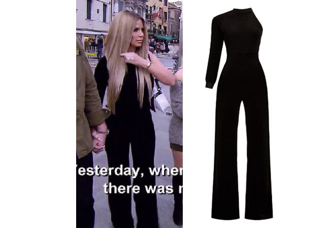 Kim Zolciak Biermann, Don't Be Tardy, Don't Be Tardy fashion, Don't Be Tardy style, Kim Zolciak wardrobe, Brielle Biermann clothes, #dontbetardy, #goals, Alexander Wang shirt, crop t-shirt, bravotv.com, shop your tv, the take, Brielle Biermann outfits, worn on tv, tv fashion, clothes from tv shows, Don't Be Tardy outfits, bravo, reality tv clothes, Venements X Juicy black velvet jumpsuit, Kim's black jumpsuit in Italy