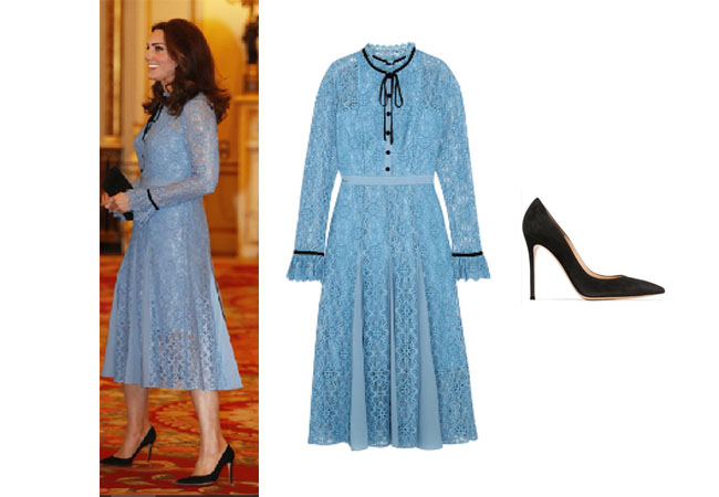 Duchess of Cambridge, Kate Middleton, #duchess, #duchesskate, #royalty, uk, #duchessofcambridge, #katemiddleton, celebrity, celebstyle, temperley london dress, Kate's blue dress, gianviot rossi 100 suede pump, Kate's black pumps, #dukeofcambridge, #royalfamily, #queenelizabeth, #princesscharlotte, #hautecouture, #pregnancy, #pregnantlife, #baby, #highfashion