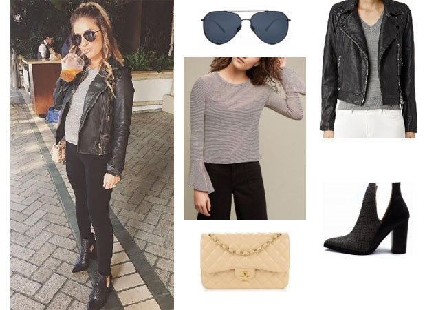Jessie James Decker, Jessie James Decker clothes, Jessie James Decker wardrobe, Jessie James Decker fashion, Jessie James Decker style, celebrity clothes, star style clothes, stealherstyle, starstyle, Jessie James Decker instagram,  celebritystyle, celebrityfashion, celebstyle, style, fashion, realitytv, fashionblog, asseenontv, jumpsuit, Allsaints coney quilted jacket, Diff Eyewear sunglasses, Chanel bag