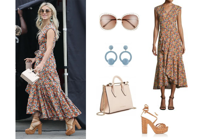 Julianne Hough, Julianne Hough clothes, Julianne Hough outfits, celebrity style, fashion blog, star style, steal her style, celebrity fashion, style, fashion, realitytv, Julianne Hough instagram, Julianne Hough age, ootd, ootw, Rebecca Taylor floral dress, raffia sandals, Chloe 60mm Gradient sunglasses