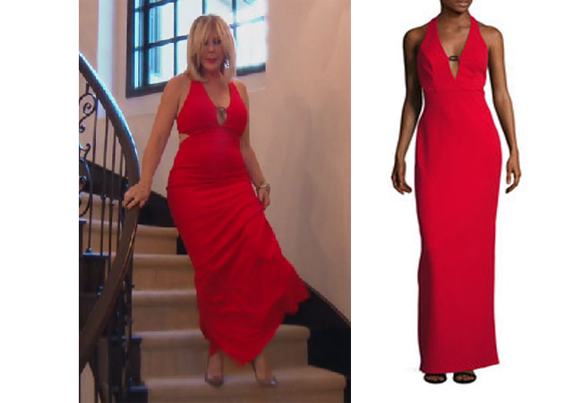 Real Housewives of Orange County, RHOC, Vickie Gunvalson, Vicki Gunvalson fashion, Vicki Gunvalson wardrobe, Vicki Gunvalson style, #RHOC, #RealHousewivesOrangeCounty, Season 12, shop your tv, the take, bravotv.com, worn on tv, tv fashion, clothes from tv shows, Real Housewives of Orange County outfits, bravo, reality tv clothes, as seen on tv, Real Housewives of Orange County Season 12, Real Housewives clothes, ABS Red Column dress, Vicki's red dress, fall outfit, fall dress, red christmas dress