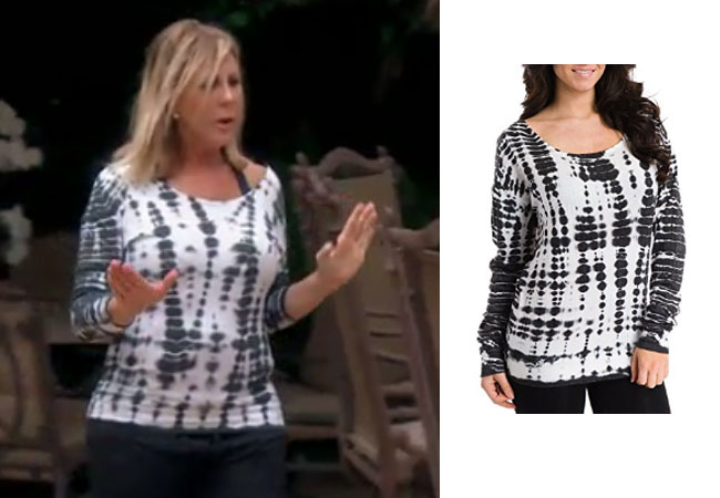 Real Housewives of Orange County, RHOC, Vickie Gunvalson, Vicki Gunvalson fashion, Vicki Gunvalson wardrobe, Vicki Gunvalson style, #RHOC, #RealHousewivesOrangeCounty, Season 12, shop your tv, the take, bravotv.com, worn on tv, tv fashion, clothes from tv shows, Real Housewives of Orange County outfits, bravo, reality tv clothes, as seen on tv, Real Housewives of Orange County Season 12, Real Housewives clothes, Vicki's tie-dye top, Vicki's Hard Tail top