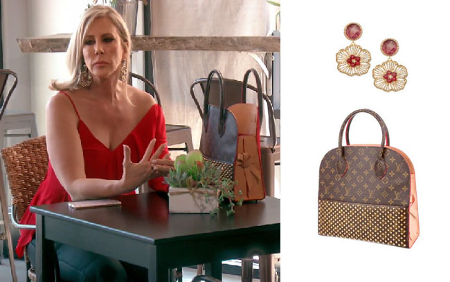 Real Housewives of Orange County, RHOC, Vickie Gunvalson, Vicki Gunvalson fashion, Vicki Gunvalson wardrobe, Vicki Gunvalson style, #RHOC, #RealHousewivesOrangeCounty, Season 12, shop your tv, the take, bravotv.com, worn on tv, tv fashion, clothes from tv shows, Real Housewives of Orange County outfits, bravo, reality tv clothes, as seen on tv, Real Housewives of Orange County Season 12, Real Housewives clothes, Louie Vuitton Iconoclasts bag, Vicki's Louis Vuitton bag, Roni Blanshay flower earrings, Vicki's flower earrings, Vicki's red flower earrings
