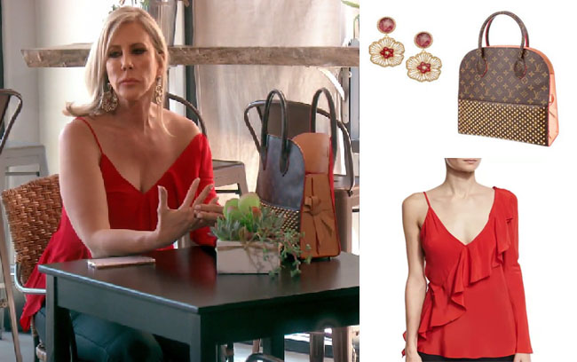 Real Housewives of Orange County, RHOC, Vickie Gunvalson, Vicki Gunvalson fashion, Vicki Gunvalson wardrobe, Vicki Gunvalson style, #RHOC, #RealHousewivesOrangeCounty, Season 12, shop your tv, the take, bravotv.com, worn on tv, tv fashion, clothes from tv shows, Real Housewives of Orange County outfits, bravo, reality tv clothes, as seen on tv, Real Housewives of Orange County Season 12, Real Housewives clothes, Louie Vuitton Iconoclasts bag, Vicki's Louis Vuitton bag, Roni Blanshay flower earrings, Vicki's flower earrings, Vicki's red flower earrings, DVF asymmetric top, Vicki's red top, Vicki's red asymmetric top
