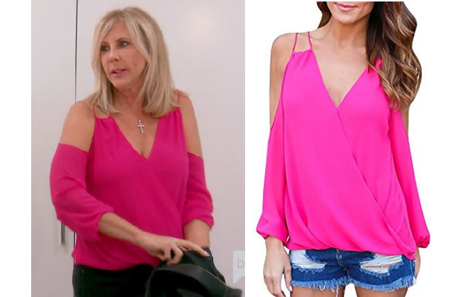 Real Housewives of Orange County, RHOC, Vickie Gunvalson, Vicki Gunvalson fashion, Vicki Gunvalson wardrobe, Vicki Gunvalson style, #RHOC, #RealHousewivesOrangeCounty, Season 12, shop your tv, the take, bravotv.com, worn on tv, tv fashion, clothes from tv shows, Real Housewives of Orange County outfits, bravo, reality tv clothes, as seen on tv, Real Housewives of Orange County Season 12, Real Housewives clothes, Vicki's pink top, Vicki's off the shoulder pink top