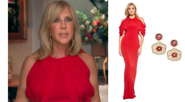 Real Housewives of Orange County, RHOC, Vickie Gunvalson, Vicki Gunvalson fashion, Vicki Gunvalson wardrobe, Vicki Gunvalson style, #RHOC, #RealHousewivesOrangeCounty, Season 12, shop your tv, the take, bravotv.com, worn on tv, tv fashion, clothes from tv shows, Real Housewives of Orange County outfits, bravo, reality tv clothes, as seen on tv, Real Housewives of Orange County Season 12, Real Housewives clothes, Vicki's red dress in interviews, Sen Couture mili dress, Roni Blanshay flower earrings, Vicki Gunvalson's flower earrings