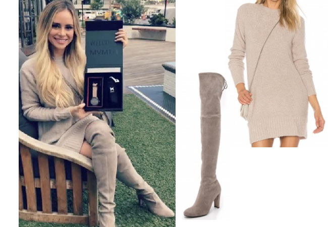 Amanda Stanton, The Bachelor, celebrity style, star style, Amanda Stanton outfits, Amanda Stanton fashion, Amanda Stanton style, shop your tv, @amanda_stantonn, worn on tv, tv fashion, clothes from tv shows, tv outfits, Bachelor In Paradise 2017, Bachelor In Paradise Season 4, Bachelor In Paradise clothes, #BIP, #bachelorinparadise, Amanda Stanton Instagram, Lovers + Friends Ash sweater dress, Stuart Weitzman Highland boot