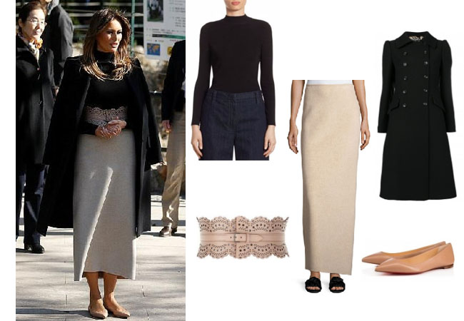 Melania Trump, celebrity style, celebrity fashion, celebrity outfits, celebrity wardrobe, Ivanka Trump style, Melania Trump fashion, Melania Trump outfits, 2017, Melania Trump, Melania's black coat, Melania's nude flats, Melania's pink belt, Melania's blush belt, Alaia Vivenne belt, The Row sweater, The Row wool skirt, Dolce Gabbana double breasted coat, Christian Louboutin ballalla flats