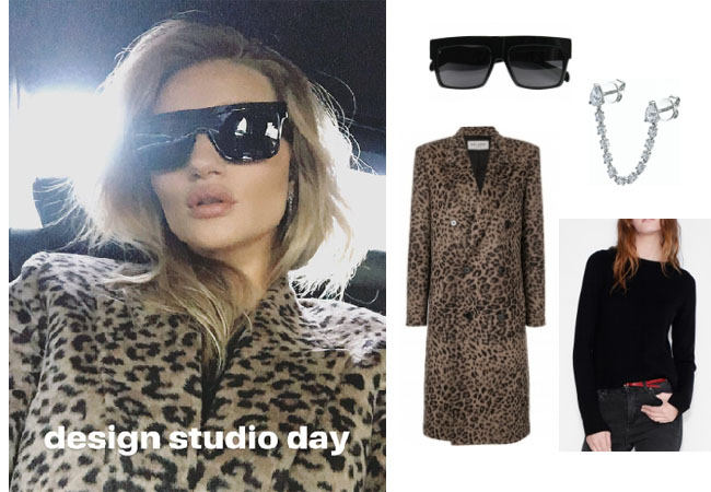 Rosie Huntington-Whiteley, Rosie Huntington-Whiteley style, Rosie Huntington-Whiteley fashion, Rosie Huntington-Whiteley clothes, celebrity, celebrities, supermodels, model clothes, runway, fashion week, celebrity fashion, star style, clothes from tv shows, Gigi Hadid, Bella Hadid, Kendall Jenner, Saint Lauren leopard coat, Zadig & Voltaire cashmere sweater, Celine ZZ sunglasses, Anita Ko earrings