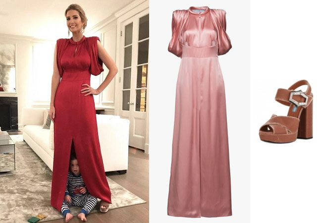 Ivanka Trump, celebrity style, celebrity fashion, celebrity outfits, celebrity wardrobe, Ivanka Trump style, Ivanka Trump fashion, Ivanka Trump outfits, 2017, Melania Trump, Ivanka's red satin dress, Ivanka's brown sandals, Prada red satin dress, Prada jeweled velvet black heeled sandal