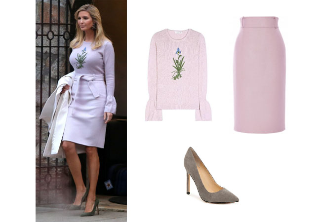 Ivanka Trump: Washington DC January 2018: Liliac Sweater, Pencil Skirt and  Pumps