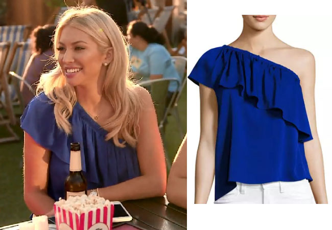 Vanderpump Rules, Stassi Schroeder style, Stassi Schroeder, Stassi Schroeder fashion, @stassischroeder, bravotv.com, #pumprules, Stassi Schroeder outfit, steal her style, shop your tv, the take, worn on tv, tv fashion, clothes from tv shows, Vanderpump Rules outfits, bravo, reality tv clothes, Vanderpump Rules clothes, Stassi Schroeder clothes, as seen on tv, Vanderpump Rules clothes, Stassi Schroeder instagram, season 6, Stassi's blue one shoulder top, Milly Ruffled One Shoulder Top