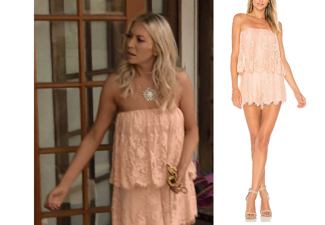 Vanderpump Rules, Stassi Schroeder style, Stassi Schroeder, Stassi Schroeder fashion, @stassischroeder, bravotv.com, #pumprules, Stassi Schroeder outfit, steal her style, shop your tv, the take, worn on tv, tv fashion, clothes from tv shows, Vanderpump Rules outfits, bravo, reality tv clothes, Vanderpump Rules clothes, Stassi Schroeder clothes, as seen on tv, Vanderpump Rules clothes, Stassi Schroeder instagram, season 6, Lovers + Friends lace romper, Lovers + Friends Kristine romper, Stassi's romper at parade